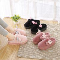 秋冬季居家居棉拖鞋高跟厚底松糕室内外穿可爱鸵鸟毛毛绒保暖拖鞋