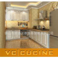 佛山板式橱柜厂家出口吸塑橱柜 经典吸塑款式 简单造型PVC橱柜