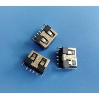USB 2.0母座 4PIN 180度立式插板DIP 短体8.8MM 带鱼叉脚 黑色胶芯