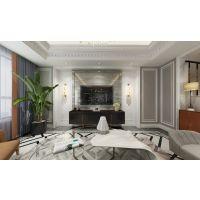 保利观塘香颂跃层洋房户型设计平面,美式轻奢风格装修效果图