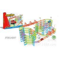 速卖通热卖电动玩具摆地摊货源彩色百变高层轨道车183块