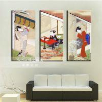 日本古代美女装饰画日本美食酒楼餐馆包厢挂画无框壁画墙画装修画