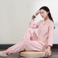 禅意女装棉麻禅服女夏两件套装瑜伽禅修服中式盘扣上衣中国风茶服