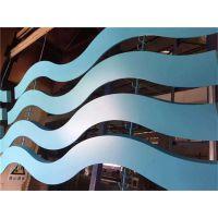 商场弧形铝方通木纹造型吊顶外墙隔断铝合金方管定制