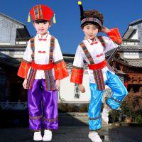 儿童少数民族表演服男童苗族演出服壮族傣族舞蹈服葫芦丝表演服装