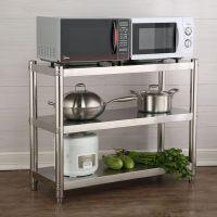 不锈钢厨房置物架微波炉架3层收纳储物架加厚落地三层多层置物架