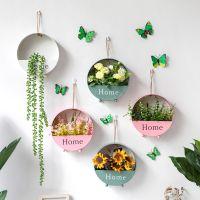 墙壁装饰挂件客厅卧室室内仿真植物小花盆北欧墙上店铺背景墙壁饰