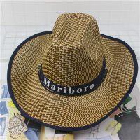 男士钓鱼大檐草帽海南草编遮阳防晒户外农民工地帽可折叠旅游帽