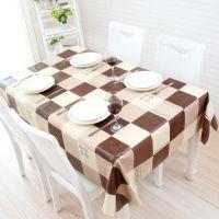 家用遮桌布防尘实木桌布日式文艺咖啡色餐桌垫台布艺防水防烫日式