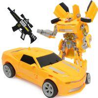 手动变形金刚车大黄蜂 灯光音乐变形机器人 男孩儿童益智玩具
