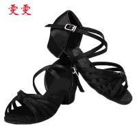 专业生产 黑色女童拉丁舞舞鞋 少儿pu拉丁舞高帮舞蹈鞋