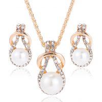 欧美项链耳环套首饰品 速卖通新款镶钻水晶水滴珍珠首饰套装 女
