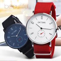 外贸热卖OKTIME2针半尼龙带手表学生男生女生超薄石英手表