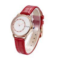 2018年新款女式超薄不锈钢30M防水镶钻时尚日本机芯石英手表(金,玫金色)