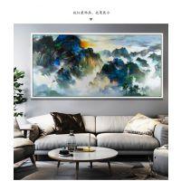 梁艺画廊,现代装饰画,远看群山油画,山水油画,背景墙装饰