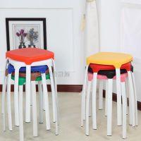 时尚简约彩色家用塑料方凳子 叠放高凳加厚型简易 圆凳餐凳 凳子
