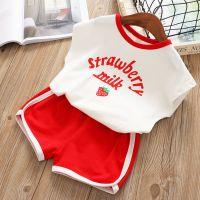 休闲套装童装女童韩版草莓印花背心短裤两件套