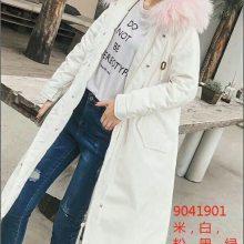 19年新款羽绒服女韩版时尚大毛领白鸭绒女品牌折扣女装走份