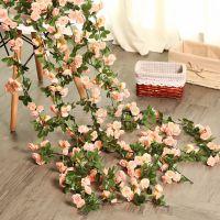 塑料墙面无异味色彩自然米白色圣诞节深粉色假花仿真玫瑰花藤装饰