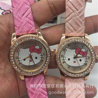 厂家直销hello kitty镶钻手表 女孩KT猫可爱 女生童学生手表