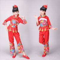 儿童舞蹈服中国风民族秧歌舞蹈服开门红手绢表演灯笼花布演出服装
