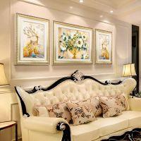 欧式客厅装饰画沙发背景墙挂画美式麋鹿墙画现代墙面壁画大气简约