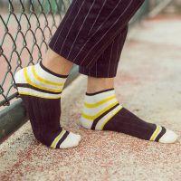 CG17袜子批发 男袜 纯棉短袜 拼色条纹低帮浅口运动男人袜