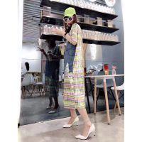 欧洲站新款时尚深圳欧货大量尾货批发折扣女装纯棉连衣裙均码
