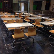 河源连体式快餐店桌椅,人造石台面中式自选快餐桌椅订做