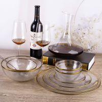 新款手工金边玻璃餐具透明玻璃餐盘家用碗盘碟礼品赠品批发