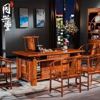 红木家具花梨木茶桌椅组合刺猬紫檀茶台中式仿古功夫茶几实木茶桌