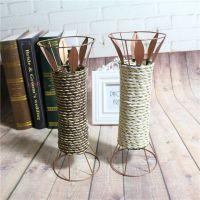 创意欧式花盆花篮家居 客厅餐桌插花铁质花瓶批发28厘米圆口花篮