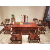 刺猬紫檀红木家具2米办公茶台定做厂家 名琢世家