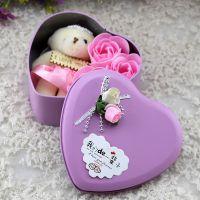 心形铁盒装三朵小熊香皂花 可爱玫瑰花教师节礼物摆放礼品