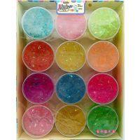 韩版儿童彩泥可爱桶装炫彩拉伸土12色水晶泥糖果金粉亮片橡皮泥