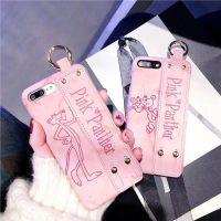 潮牌皮质磨砂6s大理石iPhone7plus保护套苹果x 粉红豹腕带手机壳