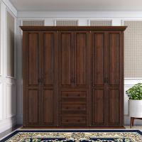 美式实木衣柜简约现代卧室六门大衣橱欧式家具白色储物柜整体定制