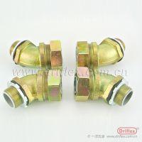 Driflex铁镀锌软管接头 包塑穿线管45°金属接头 量大优惠 厂家供应型号齐全
