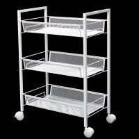 厂家直销厨房整理置物架推车金属三层网篮收纳推车