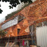太原市金色及大红色三角形镂空不规则铝单板工程铝制品