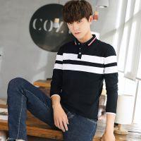 秋季男士翻领长袖T恤韩版纯棉体恤青少年学生上衣拼接条纹打底衫