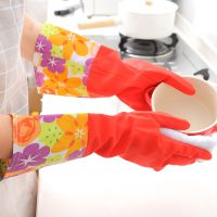 敞口洗碗手套保暖手套 洗衣服护肤加厚加绒加长PVC宽口手套