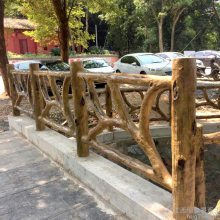 永丰仿树藤护栏 异形生态木围栏 水泥仿木栏杆护栏厂家定制