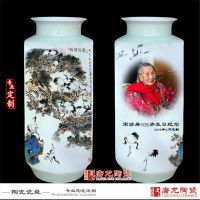 千火陶瓷 定制老人祝寿用花瓶松鹤延年