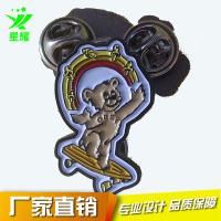 金属卡通徽章 可爱烤漆小熊镀黑镍儿童胸章 品质保障