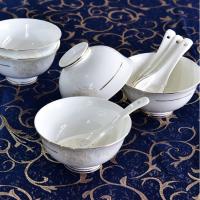 唐山亿美厂家批发陶瓷餐具套装 骨瓷碗盘碟餐具酒店实用活动礼品定制LOGO