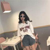 原宿风BF宽松短袖T恤韩版潮学生女夏季中袖上衣字母打底衫半袖V领