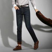 复古黑色男士牛仔裤修身小脚潮流冬款加绒弹力直筒秋季裤子
