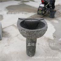复古怀旧洗手盆工艺品  天然石材一体洗脸盆  大理石黑色立柱盆