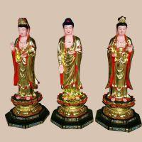 宁夏佛像雕刻厂家 敦煌彩西方三圣佛像 塑钢西方阿弥陀佛雕像 彩绘接引佛三尊图片